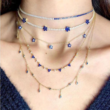 Delicate Thin cz tennis choker necklace Blue Cubic zirconia Flower Charms Trendy women collar chokers Gold(China)
