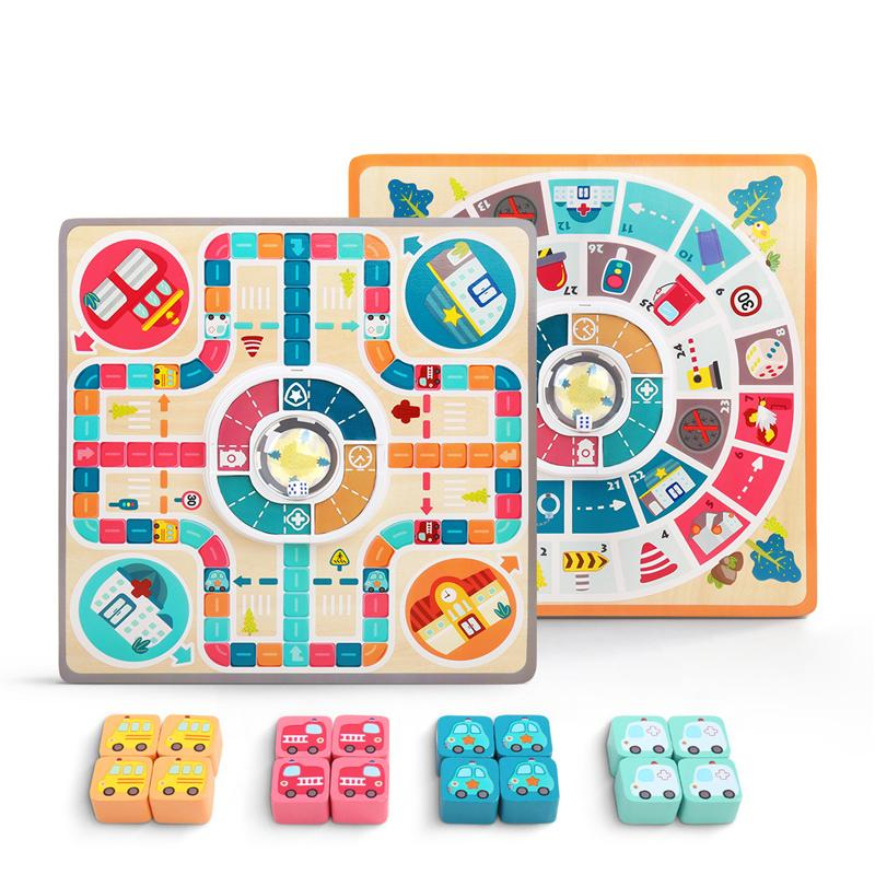 2 In 1 Ludo+L'oie Chess Wooden Two-Sided Board Game Children's Family Pachisi Learning Dice Games For Adults Kids For 2-4 Player