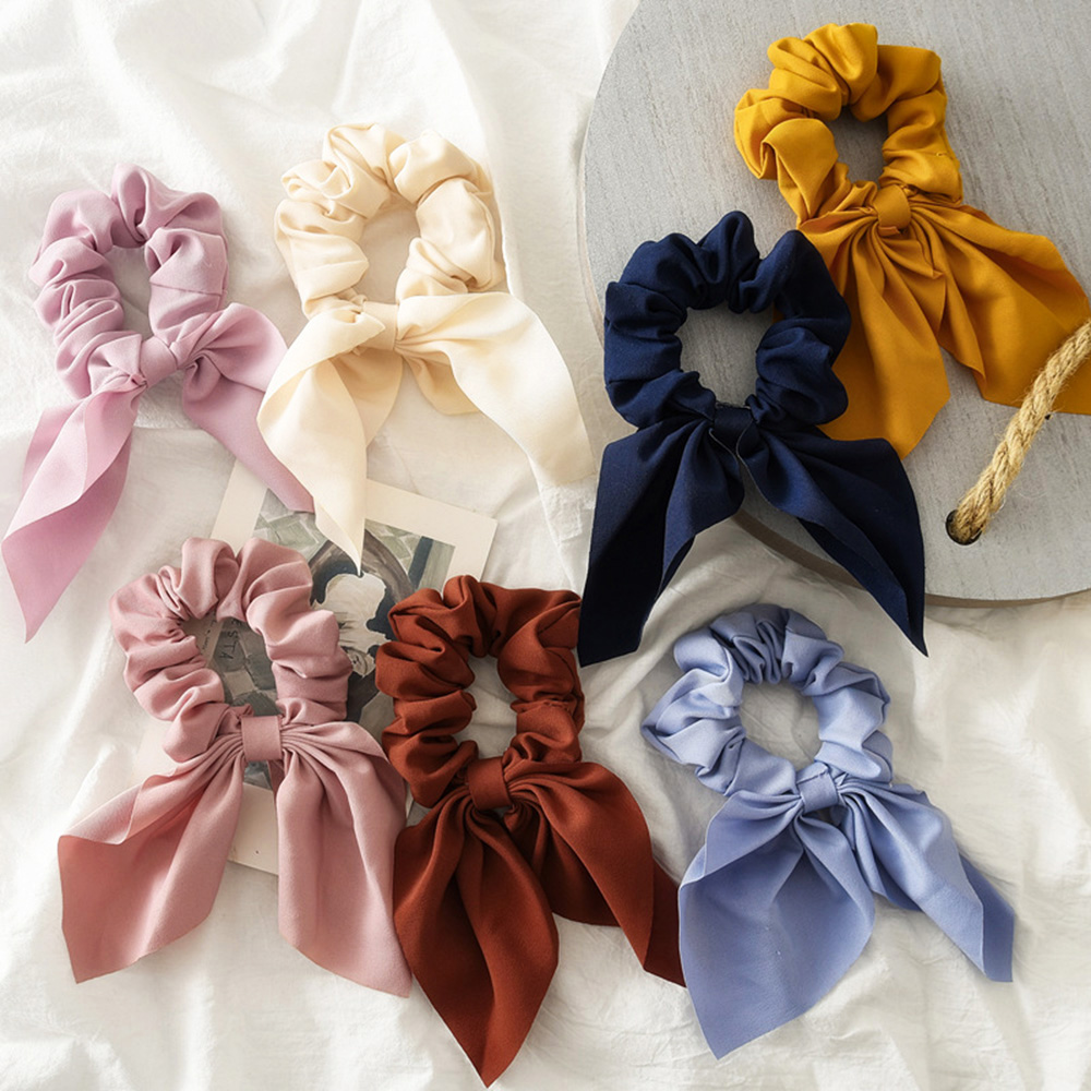 New Candy Color Women Girls Hair Scrunchie Bows Ponytail Holder Hairband Bow Knot Scrunchy Girls Hair Ties Hair Accessories