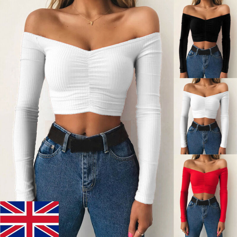 2019 <font><b>Sexy</b></font> <font><b>Off</b></font> <font><b>Shoulder</b></font> <font><b>Women</b></font> T-Shirt Summer Autumn Casual Long <font><b>Sleeve</b></font> Pullover Tops Slim bodycon <font><b>Fashion</b></font> basic Shirt Crop Tops image