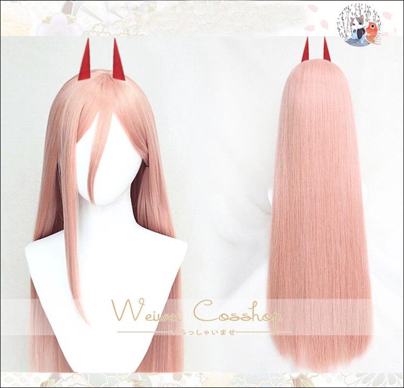 Motosserra homem power cosplay peruca 80cm de comprimento em linha reta cabelo sintético resistência ao calor + peruca boné