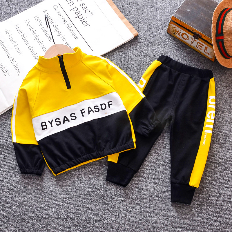 The new tide Fan Tong 2019 <font><b>children</b></font> of the baby <font><b>BF</b></font> block zipper long-sleeved two-piece English letters image