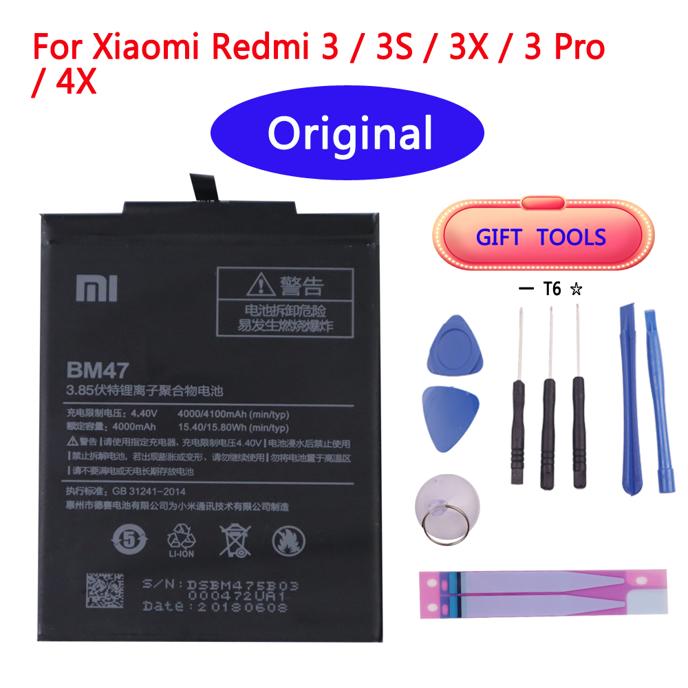 Original Phone <font><b>Battery</b></font> BM47 For Xiaomi Redmi 3 3S 3X <font><b>4X</b></font> 3 pro Note 3 5 5A Pro <font><b>Mi</b></font> 5X BM22 BN43 BN45 Replacement <font><b>Batteries</b></font> image