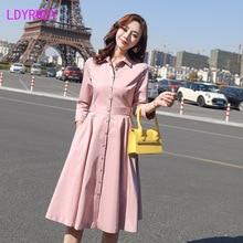 2019 autumn pink temperament dress Knee-Length  Regular Turn-down Collar Zippers Full Sheath