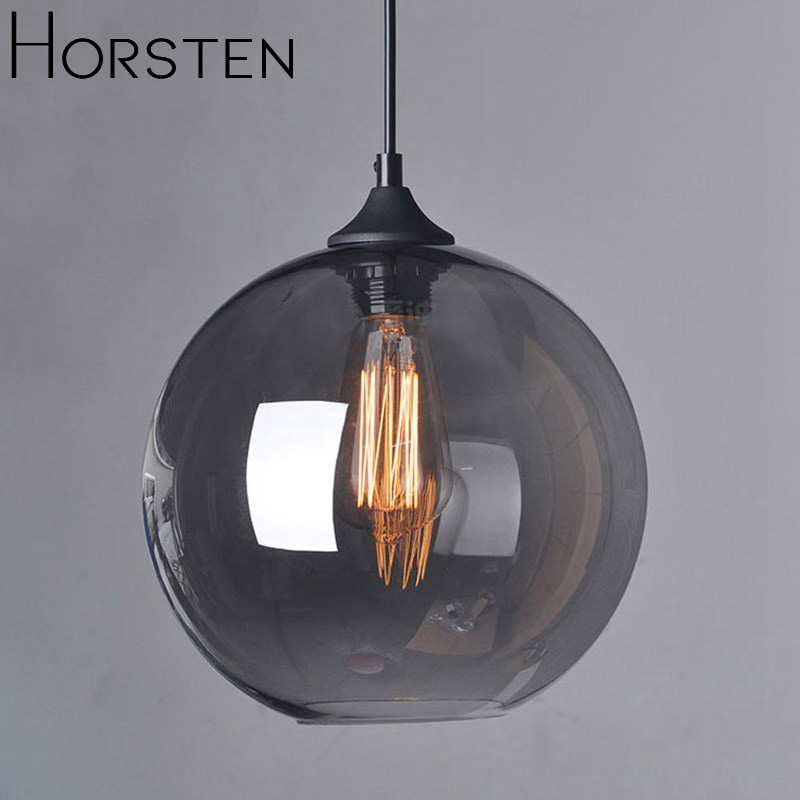 Horsten American Style Glass Ball Pendant Lamp Smoke Glass Hanging Lights Lamp Retro Design Pendant Lights For Restaurant Bar