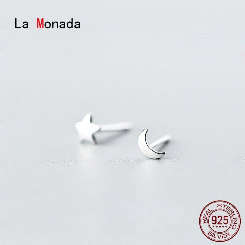 Женские маленькие серьги-гвоздики La Monada, серебро 925 пробы, асимметричные серьги-гвоздики в форме звезды, Луны, серебро 925 пробы
