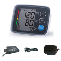 USB Chargeable Home health care Pulse measurement tool Portable LCD digital Upper Arm Blood Pressure Monitor Tonometer with Bag