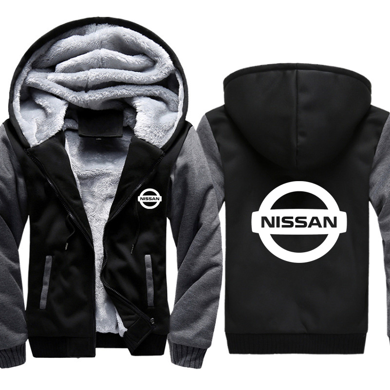 Hoodies Men Nissan Car Logo Print Jacket Men Hoodies Casual Winter Thicken Warm Fleece Cotton Zipper Raglan Coat Male Tracksuits
