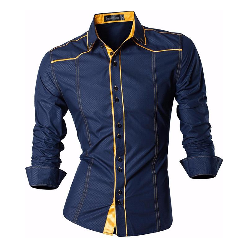 Jeansian Men's Casual Dress Shirts Fashion Desinger Stylish Long Sleeve Slim Fit Z034 Navy