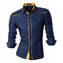 Jeansian męskie codzienne ubranie koszule Fashion Desinger stylowe długie rękawy Slim Fit Z034 Navy