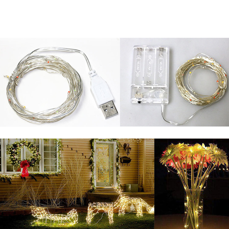 Copper Wire Fairy Garland 5/10M Waterproof USB And Battery LED String Lights For Wedding Christmas New Year Holiday Decoration