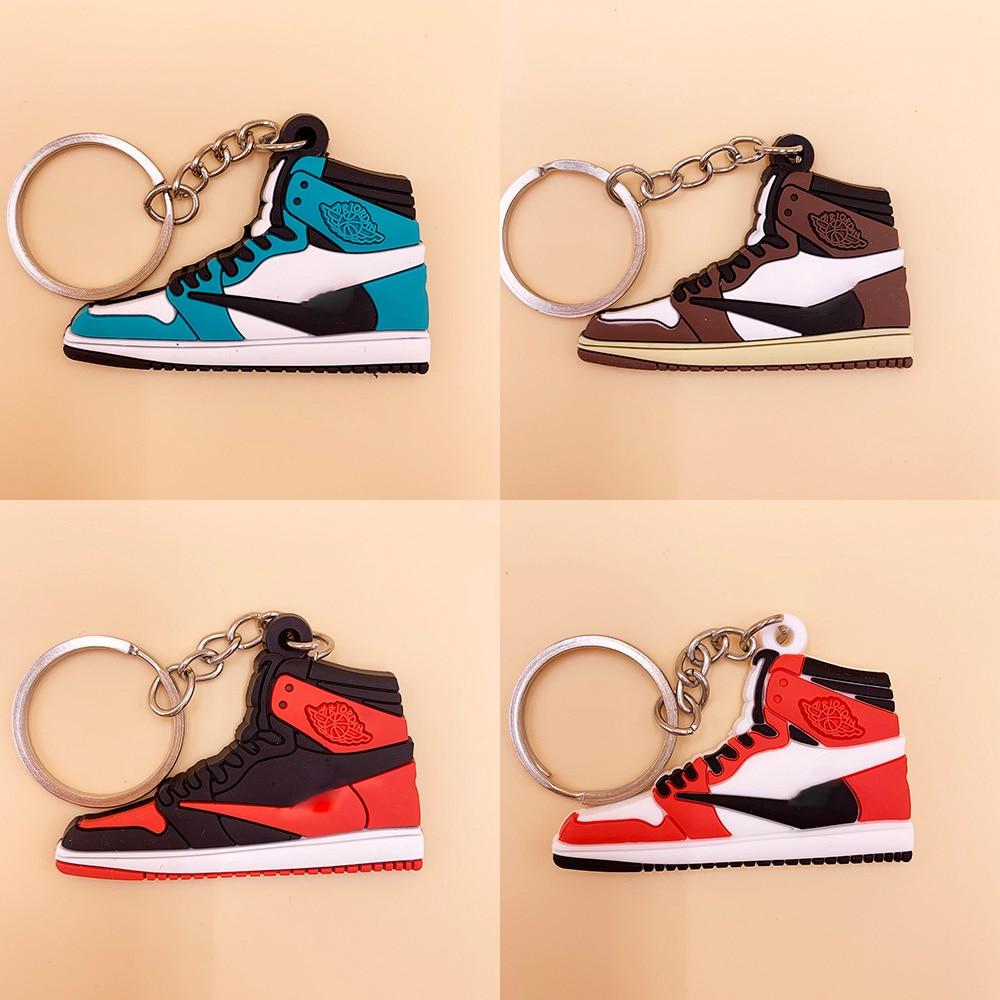NEW Mini Silicone Jordan Shoes Keychain Bag Charm Woman Men Kids Key Ring Gifts Sneaker Key Holder Key Chain Pendant Accessories