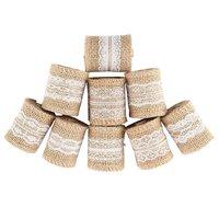 AFBC 9 Упаковок из мешочной ткани лента кольца с белым кружевом натуральная Мешковина венок для подарка оберточный ремешок Свадебная вечерин...
