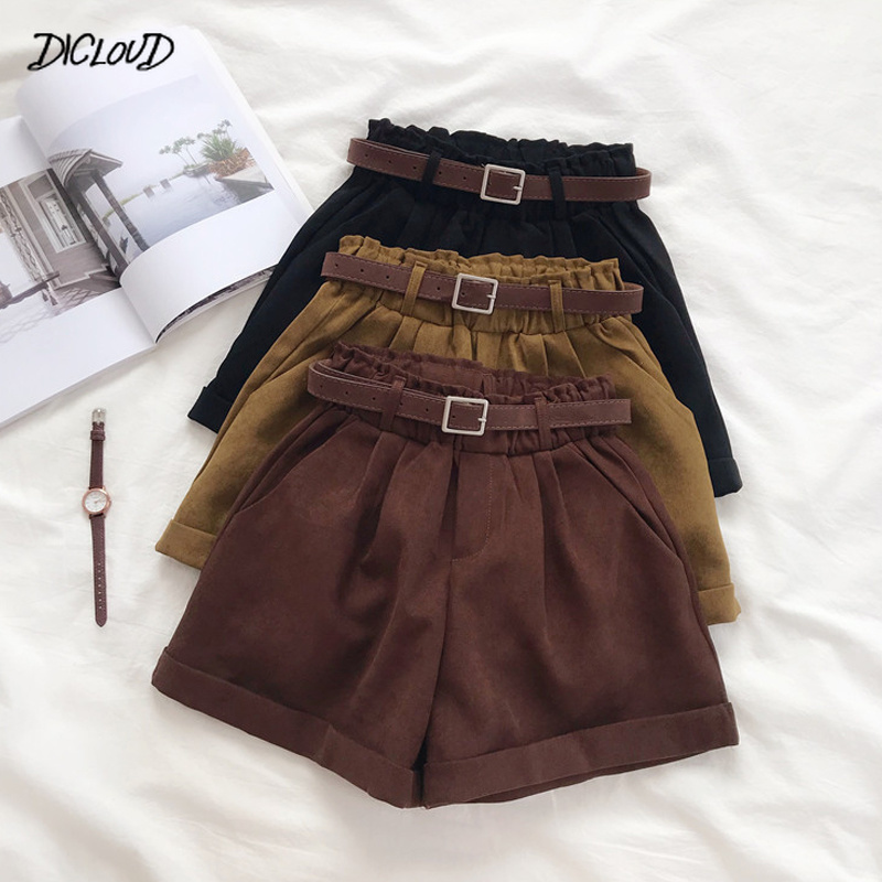 Winter Formal Shorts Women Korean High Waist Thick With Sashes Wide Leg Shorts Female Loose Gray Black Casual Bottom