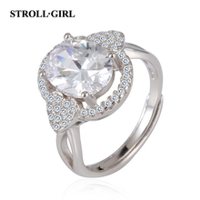 Strollgirl New Arrival 100% 925 Sterling Silver Ring with Clear Cubic Zirconia for Women Wedding Jewelry Valentine's Day Gift рюкзак с полной запечаткой printio рюкзак ассирийский флаг