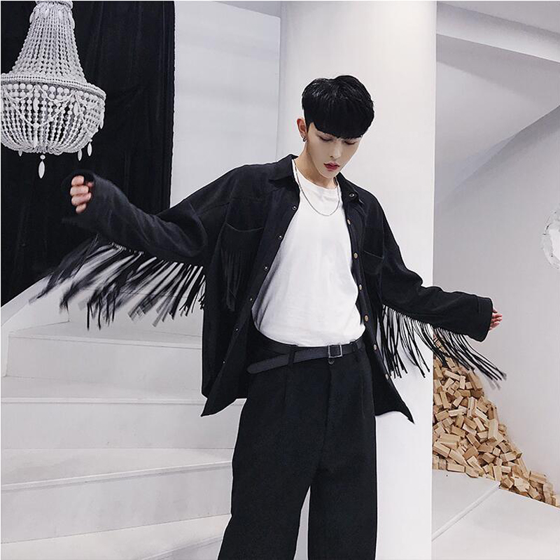 SHENGYUJIN 2019 Fashion Fringed Shirt Black Male Loose Ins Net Red Style Foreign Deer Suede Hair Stylist Shirt Tide