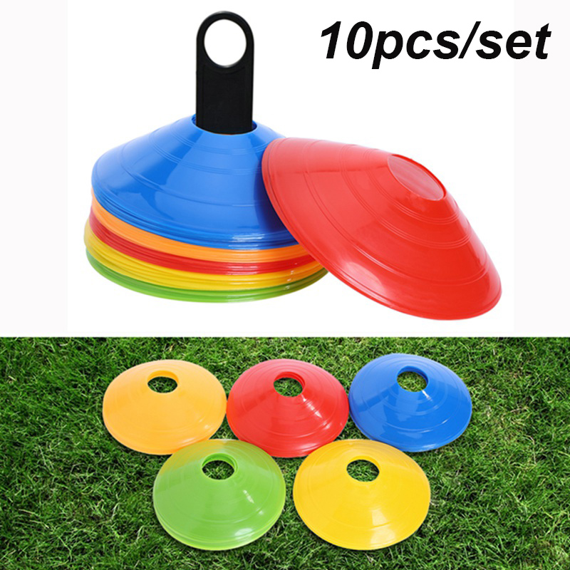10pcs/set Soccer Training Sign Flat Pressure Resistant Cones Marker Discs Bucket Marker PE Football Training