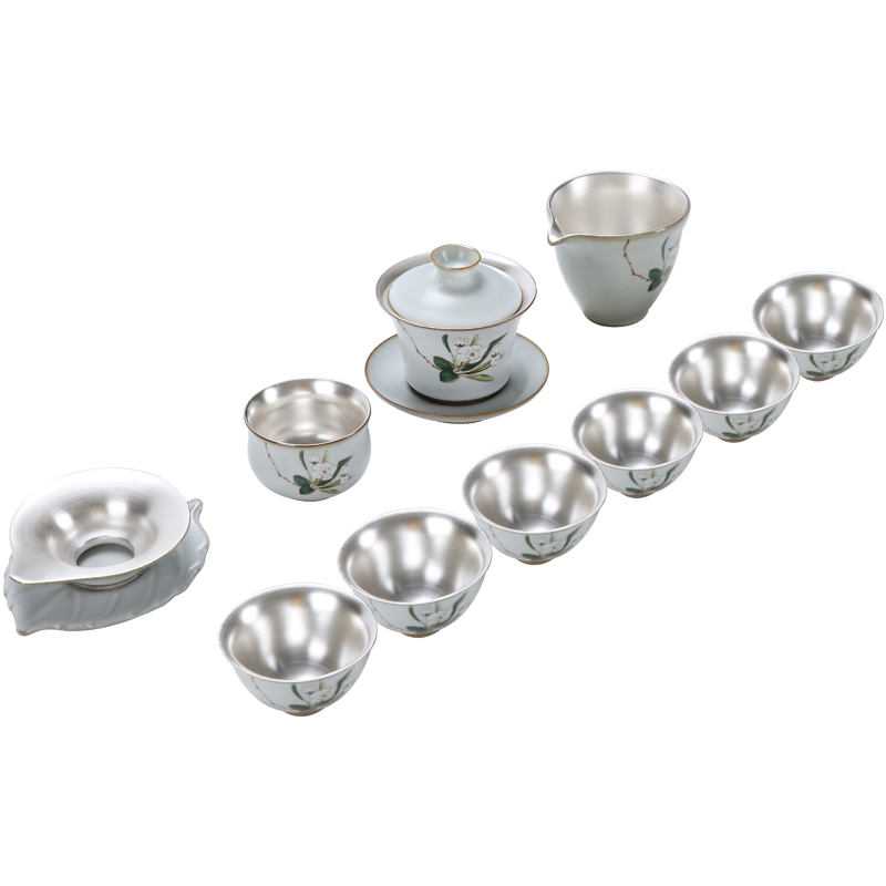 Gift Household Handmade Ru Kiln Teapot With Lid Ceramic Silver Kung Fu Tea Set Silver Tea Cup Gift Set