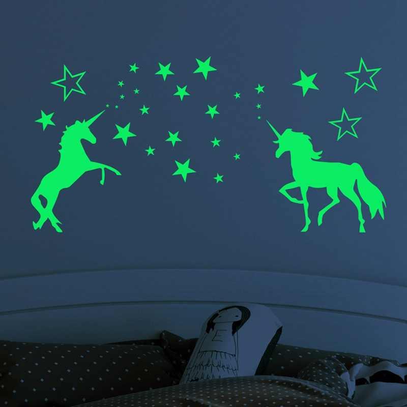 Glow In The Dark STICKERS Unicorn Wall Decor Ceiling Baby Girls Bedroom Nurse JD