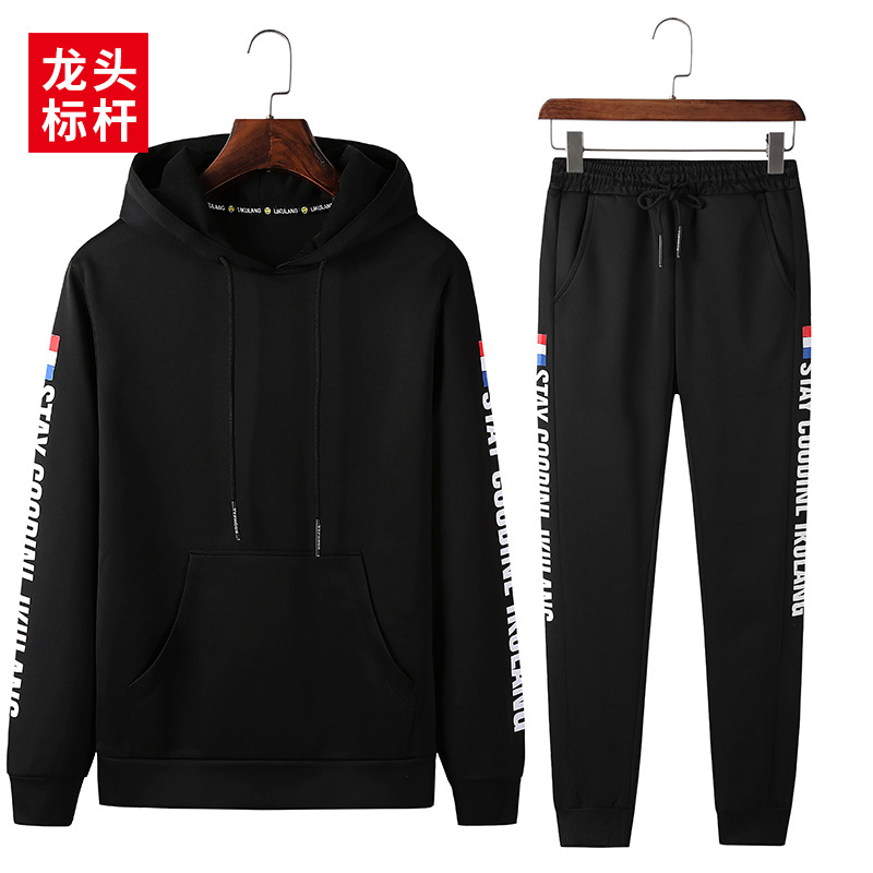 Leading Benchmark Autumn New Style Hong Kong Style Trend Pullover Hoody With Drawstring Elastic Capri Pants Casual Hoodie Suit M