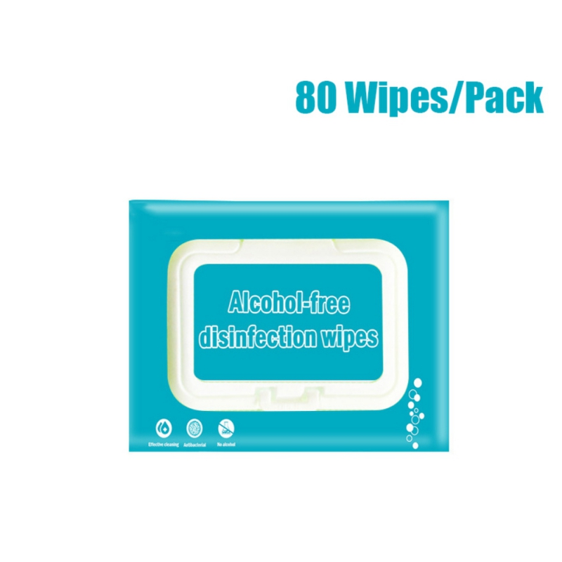 80 Sheets/Pack Alcohol-Free Disinfecting Wipes Natural Non Toxic Unscented Bacteriostatic Wipes Healthcare Cleaning Wipe NewB
