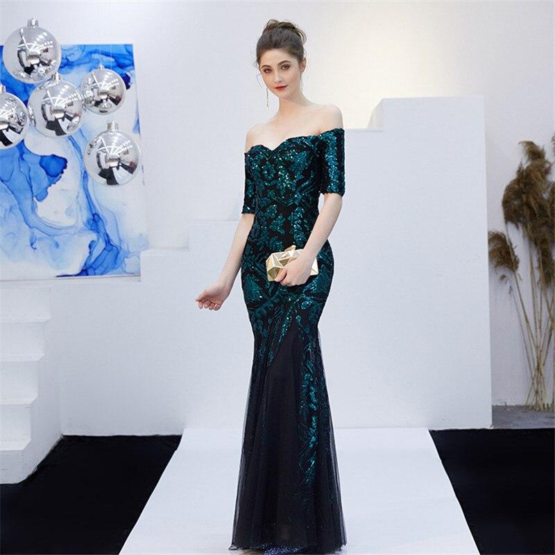 Sequined Evening Dress Prom Mermaid Gown 2020 Lady Luxury Off Shoulder Vestidos De Fiesta Long Mesh Dress Sparkling Party Dress