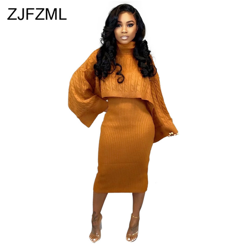 Autumn Winter Knitted Sweater Two Piece Set Turtleneck Long Sleeve Loose Crop Top +  Bandage Midi Tank Dress Plus Size Tracksuit