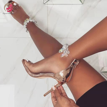 Original Intention New Stylish Gold Crystal Sandals Woman Open Toe Stiletto High Heels Sexy Lady Summer Shoes Party Plus Size