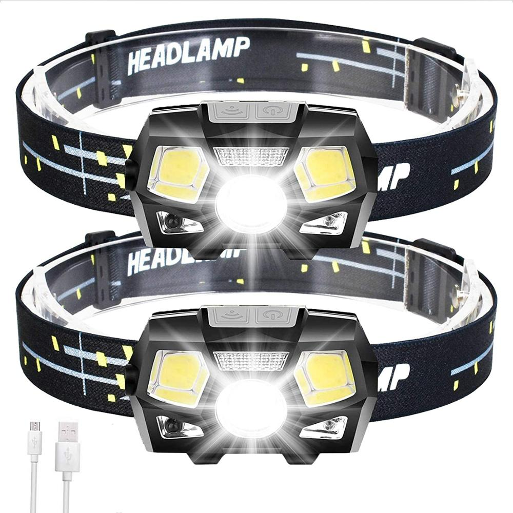 2Packs LED Headlamp Rechargeable USB Flashlights, 800 Lumens Head Lamp Headlight Headlamps with Red Light and Motion Sensor for