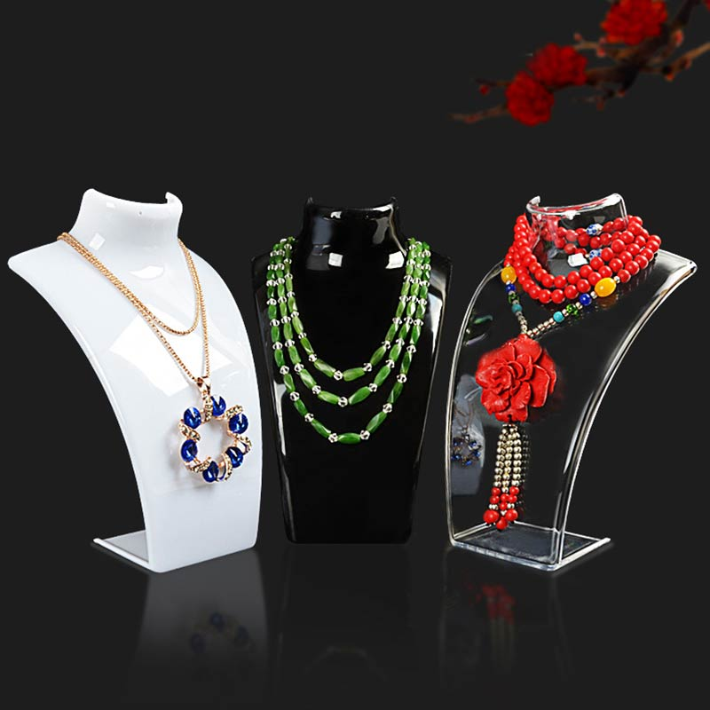 New Arrival 1PC Acrylic White Stand Holder Show Mannequin Necklace Jewelry Pendant Display Black Transparent Hot Sale