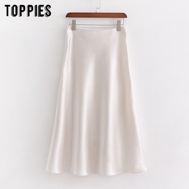 White Satin Silk Skirts Womens High Waist Elegant Midi Skirts Summer Ladies Vestidos Streetwear
