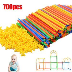 700pcs 4D Straw Building Blocks DIY Plastic Assembled Blocks Straw Inserted Construction Toy Colorful Educational Kids Gift