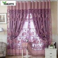 YokiSTG-cortinas Jacquard transparentes para sala de estar, dormitorio, cocina, cortinas de tul, tratamientos de lujo para ventanas
