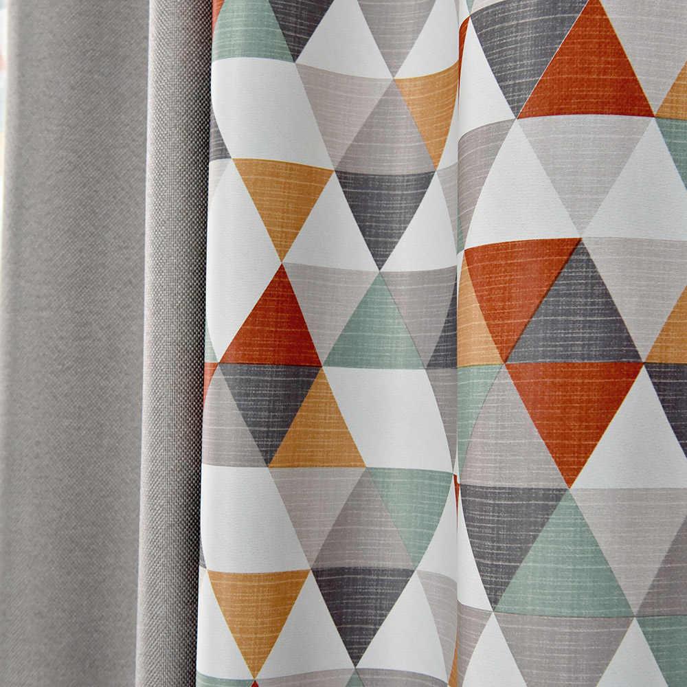 Rideaux occultants à motif géométrique à carreaux pour salon cuisine cousue stores gris rideaux sur mesure