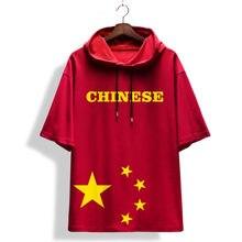 Китайская модная красная футболка с короткими рукавами и принтом