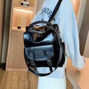 Image 2 - Femmes en cuir PU sac à dos femme mode sac à dos marque concepteur Vintage sac à bandoulière Mochila Escola sac décole sac à dos Mochila