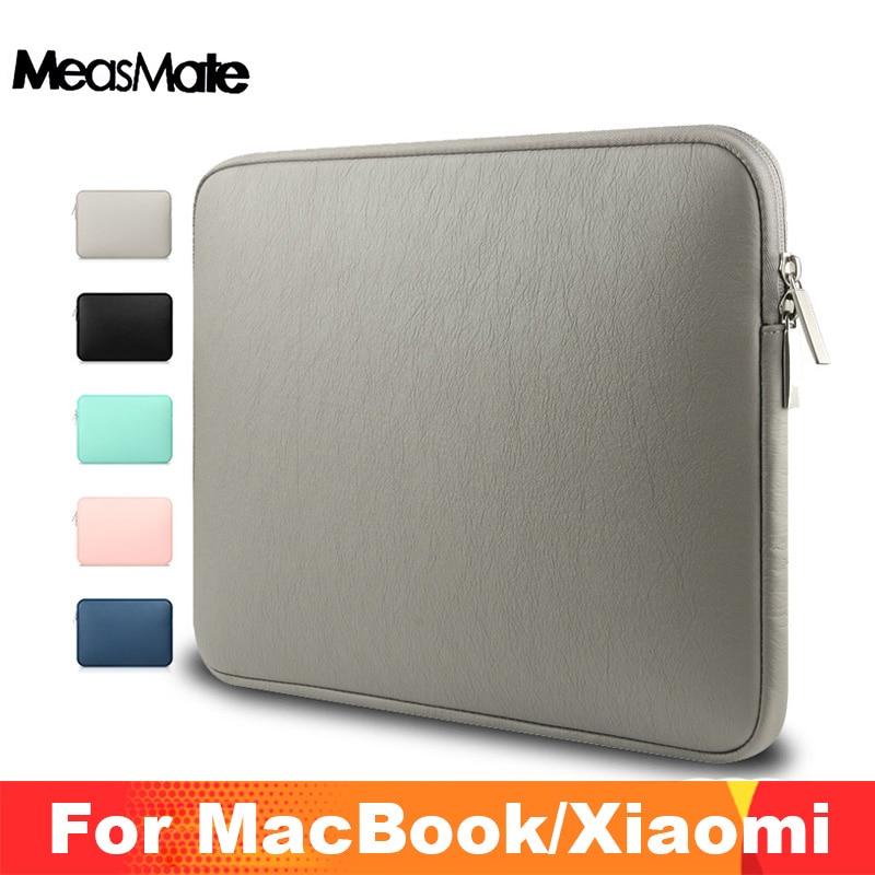 Saco do portátil de couro para macbook a1706 1708 mac livro pro 13 15 ar 13 à prova de choque caso da luva do plutônio à prova dwaterproof água para xiaomi