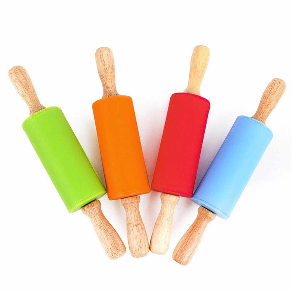 Wooden Handle Silicone Rollers Rolling Pin Kids Kitchen Cake Bread Dessert Dumplings Cooking Tool Home Baking Gadgets Bakeware