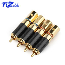 RCA Audio Jack Pure Copper Speaker Plug DIY Welding Wire Connector Adapter Connector Fever Grade Eutectic Carbon Fiber