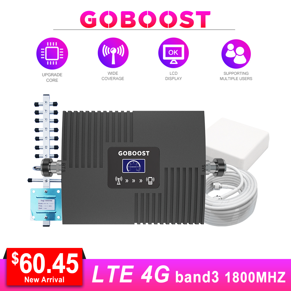 LTE 4G Amplifier Cellular Signal Booster For Cell Phone DCS 1800 LCD Display Yagi Antenna 13m Cable #