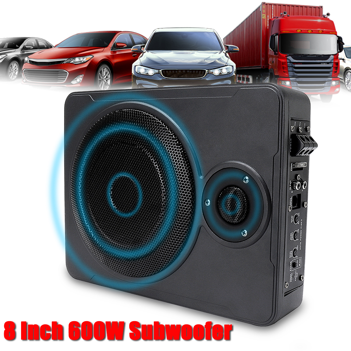 8 Inch bluetooth <font><b>Car</b></font> Home Subwoofer Under Seat Sub 600W Stereo Subwoofer <font><b>Car</b></font> <font><b>Audio</b></font> <font><b>Speaker</b></font> Music System Sound Woofer image
