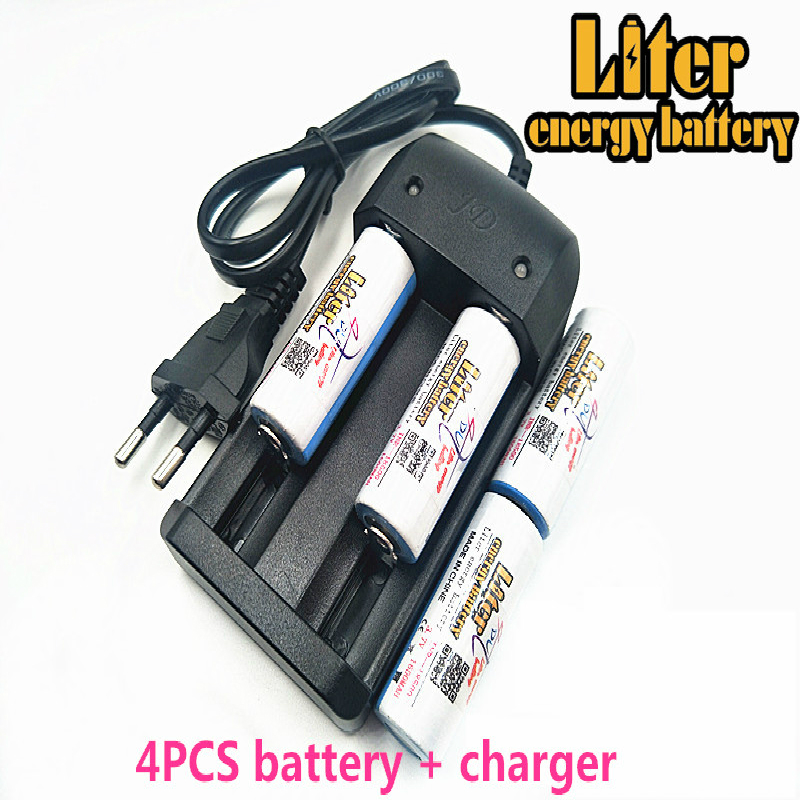 Original Liter energy <font><b>battery</b></font> <font><b>ICR</b></font> <font><b>18500</b></font> <font><b>Battery</b></font> 3.7V 1600mAh li-ion <font><b>battery</b></font> + Travel Charger Can be used to LED Flashlight image