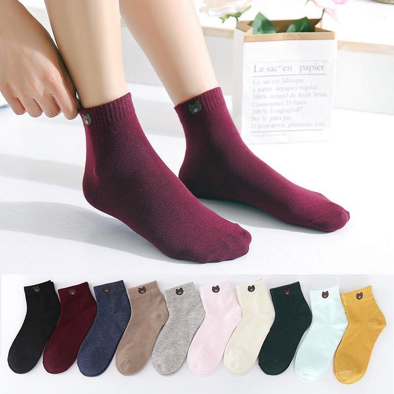 Ten Colors Boat Socks Bear Animal Print  Sleeping Socks Boat Socks Kawaii New 2020 Fashion Socks Women And Men Socks