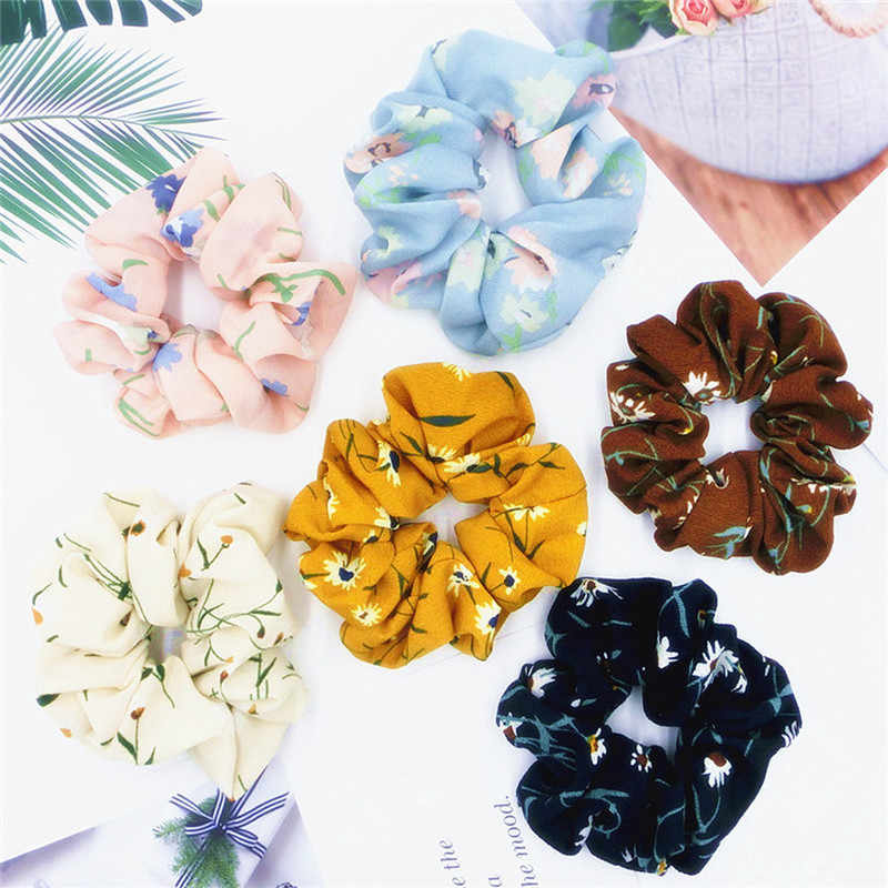 1PC Hair Accessories Elastic Floral Scrunchies Flower Chiffon Ring Fashion Sports Dance Scrunchie Hair Ties Headband Decorations