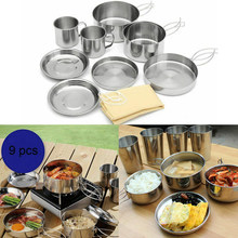 9pcs Outdoor Camping Hiking Picnic Cooking Set Bowl Pot Pan Cookware Easy Clean(China)