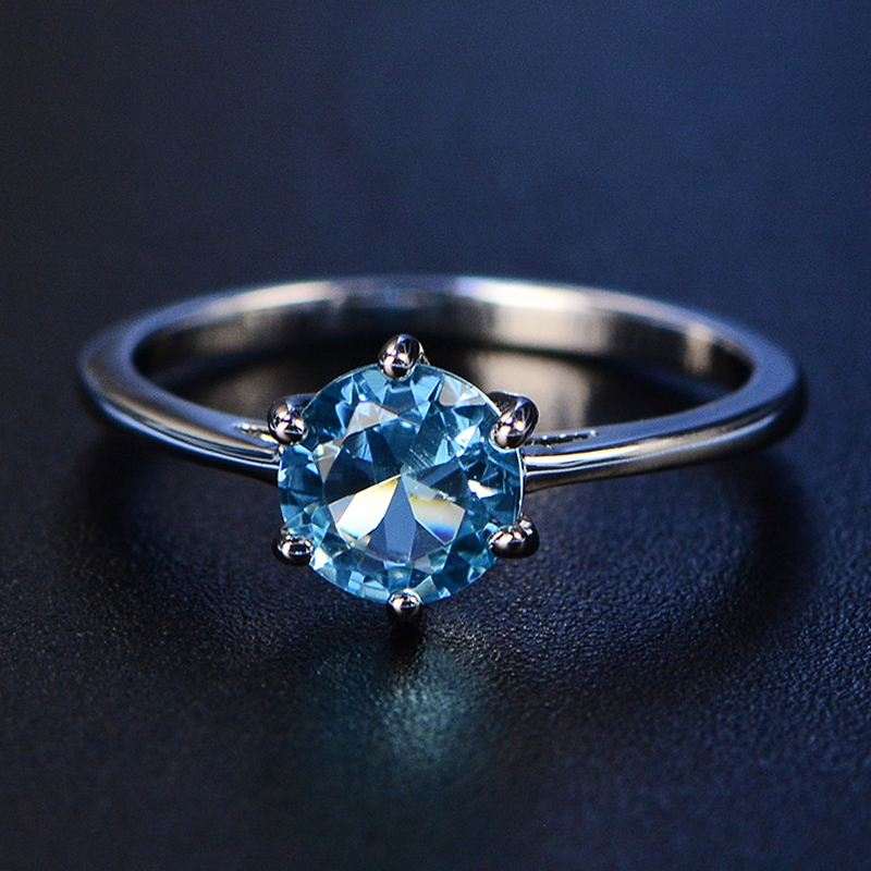 Jewepisode 100% Real 925 Sterling Silver Jewelry Ring 7MM Topaz Emerald Sapphire Gemstone Wedding Engagement Rings for Women