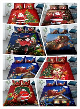 3D Bed linens Santa Claus pattern Full Queen King Single Sizes Bedding Set Christmas Tree Duvet Cover set with pillowcases