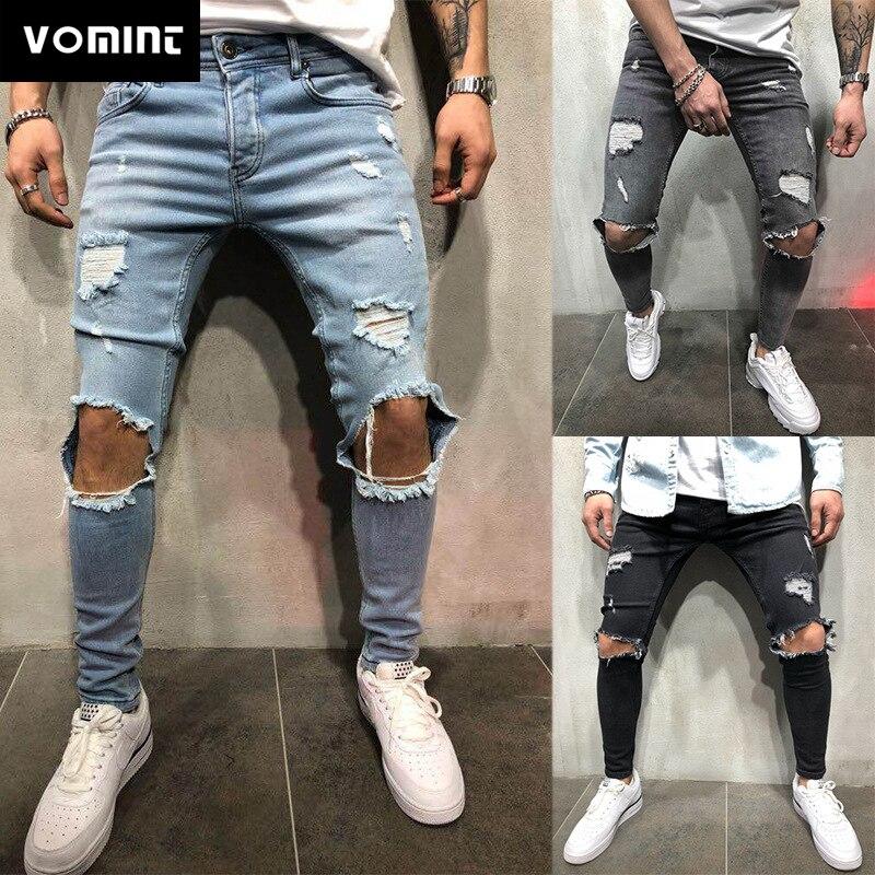 Мужские рваные джинсы VOMINT, зауженные штаны из потертого денима, джоггеры с дырками, брюки из потертого денима, 2019