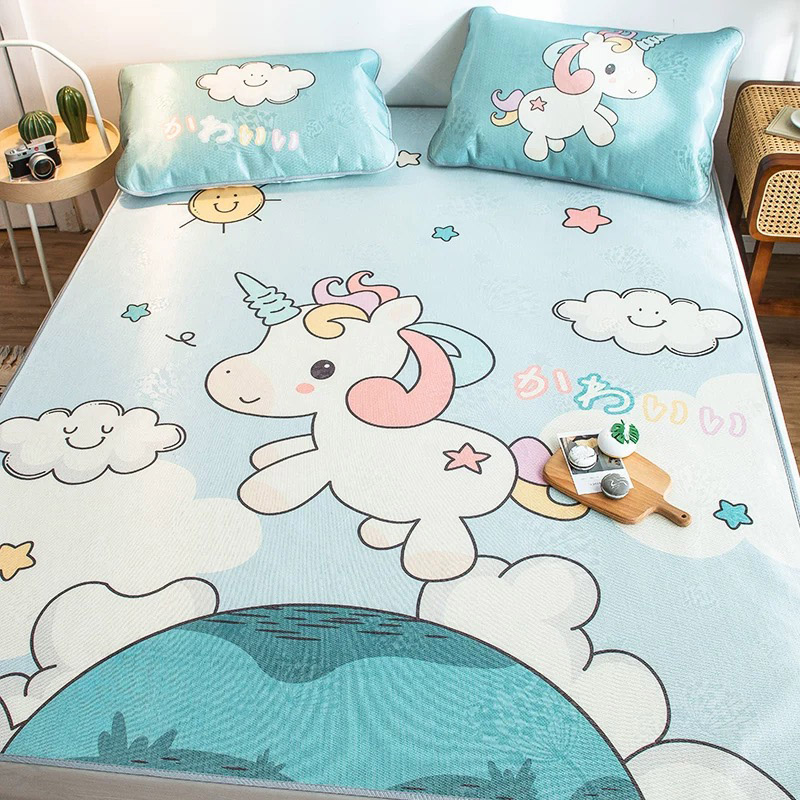 JUSTCHIC 3pcs /set Summer Mat Cartoon Ice Silk Mat Double Queen Size Washable Foldable Bed Sheets Pillowcase No Formaldehyde