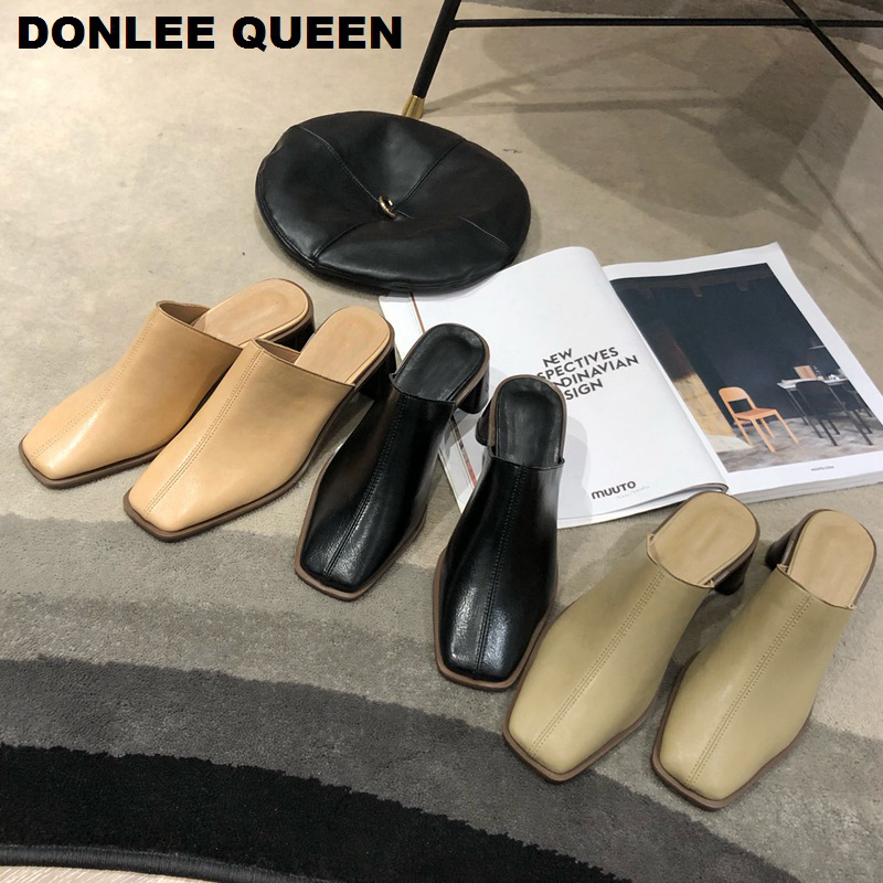 Women Slippers High Heels Mules Shoes Slip On Casual Office Shoes Woman Square Toe Slides Outdoor Female Sandals Zapatos De Muje